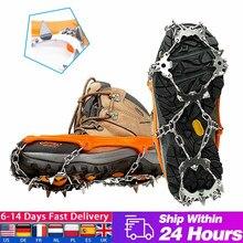 1 par 18 dentes neve gelo crampons anti-deslizamento escalada pinça sapato capa pico de alta resistência de aço inoxidável grampos dropshipping