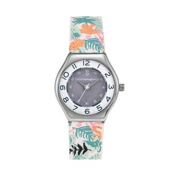Watch girl LuluCastagnette MiniStar style-analog-round metal case leather wrist with patterns