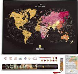 Большая карта мира 85x60 см со стирающимся стретч слоем в тубусе