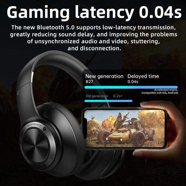 Eison jogo fones de ouvido sem fio baixo atraso fone super efeito som stero dobrável para xiaomi iphone telefone 3