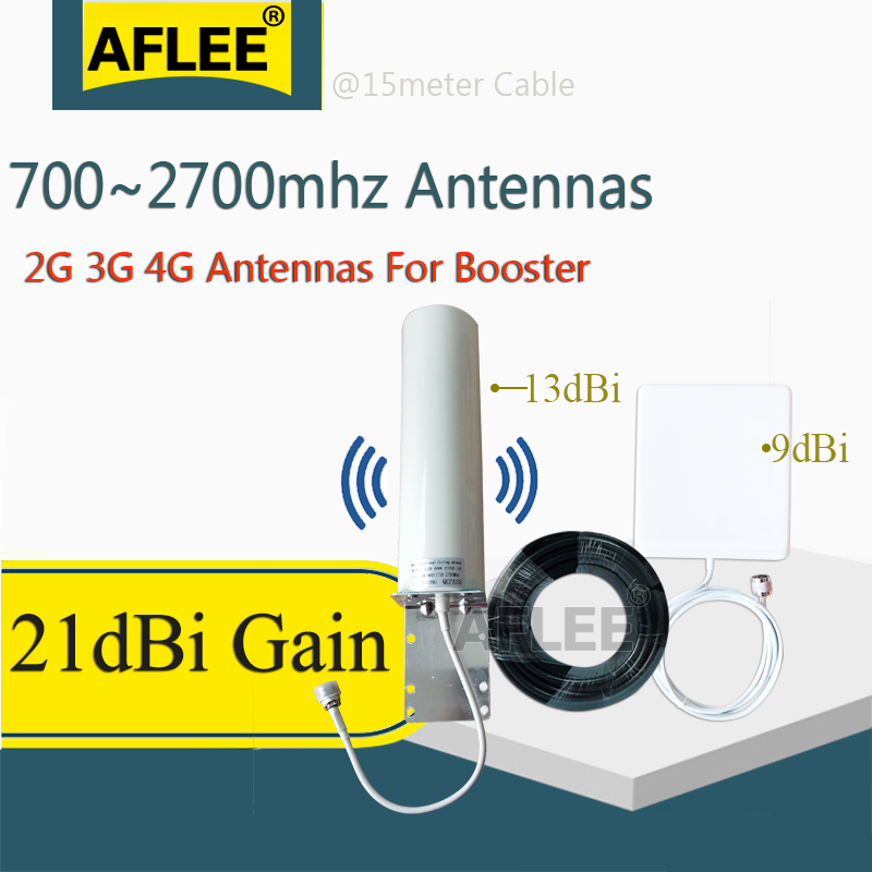 21dBi 2g 3g 4G Antenna 800-2700mhz Aerial Omnidirectional Antenna Panel Antenna 15Meter Cable For 2G 3G 4G Mobile Signal Booster