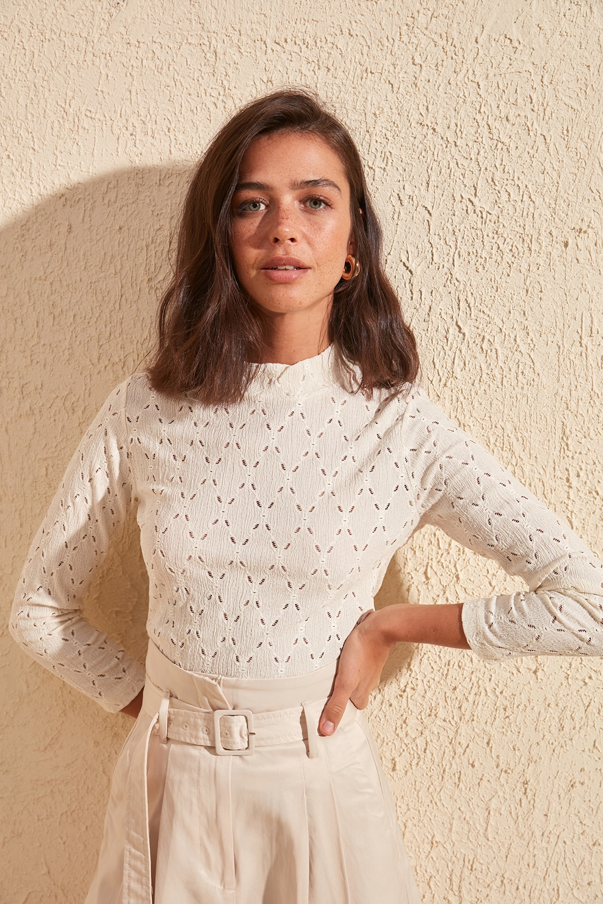 Trendyol Sheer Neckline Ruched Knitted Blouse TWOSS20BZ1330