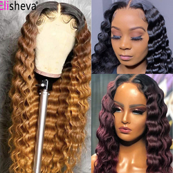 Honey Blonde Deep Wave Wig Ombre Lace Closure Deep Wave Wig 13x4 Lace Front Human Hair Wigs Brazilian Hair Lace Frontal Wig Remy