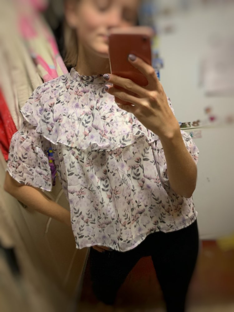 Women Blouse Loose Strapless Korean Fashion Official Lady Floral Chiffon Shirt Tops photo review