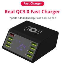 8 portas usb carregador de telefone qc3.0 carregador rápido carga rápida 3.0 inteligente display led multi-função estação de carregamento sem fio adaptador