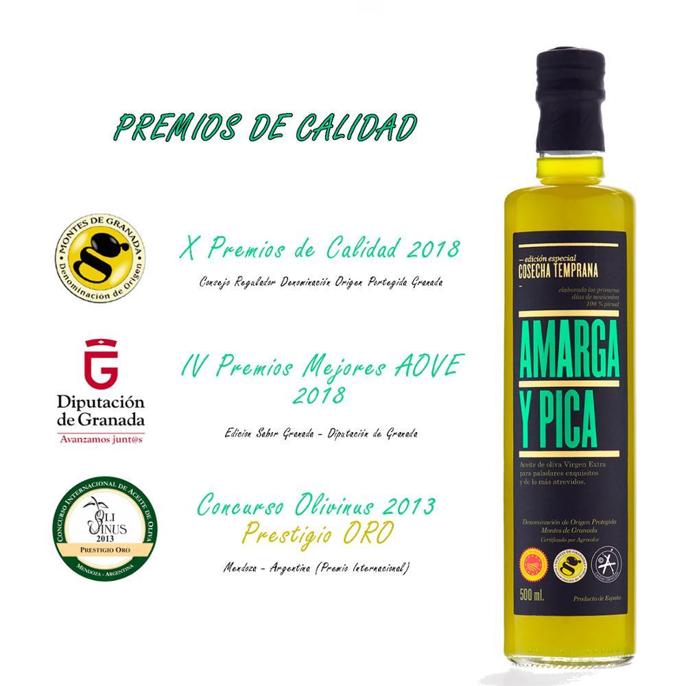 Aceite de Oliva Virgen Extra Amarga y Pica - 500ml [Picual][Origen de España][Primera Cosecha][Pack Regalo]