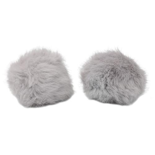Pompon Made Of Natural Fur (rabbit), D-10cm, 2 Pcs/pack (D St. Gray)