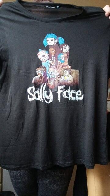 Sally Face Print Regular T Shirt Women Funny Cotton Short Sleeve T-shirt Summer Fashion Casual Short-sleeve Tees For Girls photo review