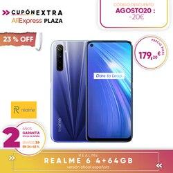 [Offizielle Spanisch Version Garantie] Realme 6 4 + 64 gb, 6 + 128 gb, 8 + 128 gb Smartphone octa core, Vier kameras, reader seite pfote druckt