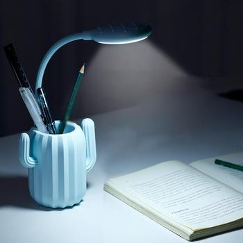 Dimmable Touch Sensor LED Table lamp Cactus USB Rechargeable Desk lamp Reading Book lights Night light With pen holder organizer 2016 creative pyramid led night light lamp ac 100 240v 4w usb rechargeable led desk light touch dimmable table lamp