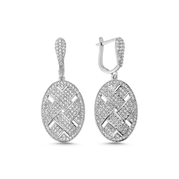 Silver 925 Sterling Oval Mesh Zircon Stone Earrings