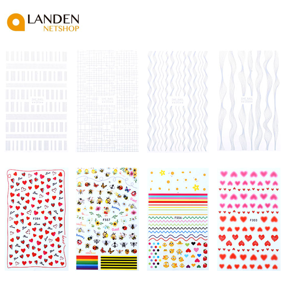 24 Styles With Designs For Nail Stickers On Nails Bowknot Dandelion Flower Stickers Decor Fingernails Art Nail
