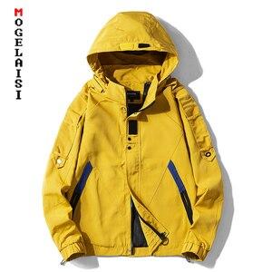 Image 1 - Nieuwe safari stijl jas mannen Herfst Hooded dunne windjack streetwear hip hop rits gele jassen corta vento A037 GSJK0046