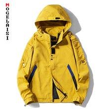Nowy styl safari kurtka mężczyźni jesień z kapturem cienka wiatrówka streetwear hip hop zamek żółte kurtki corta vento A037 GSJK0046