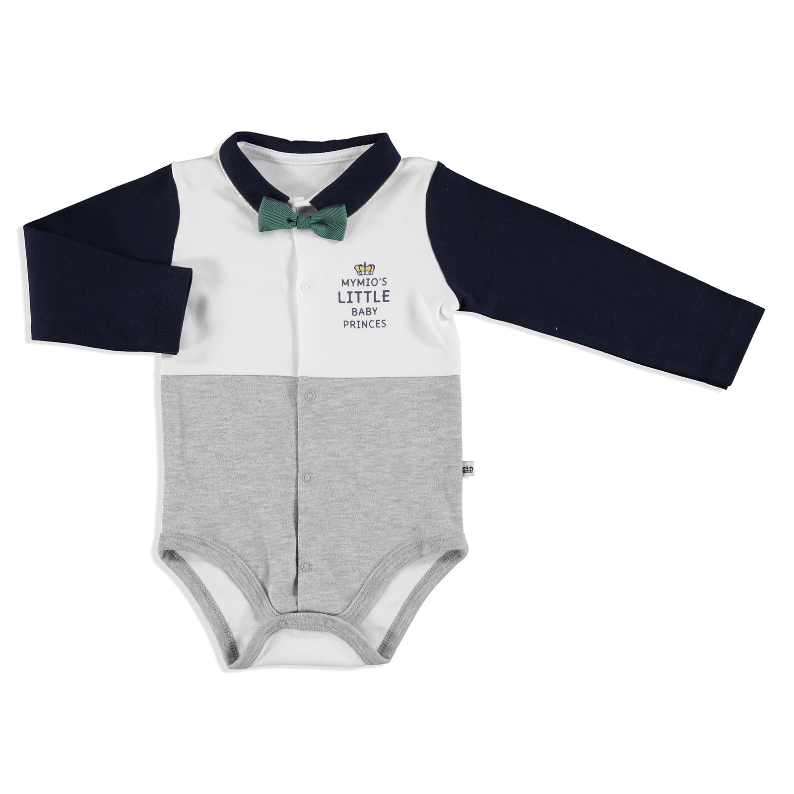 Ebebek Mymio Crested Interlock Baby Bow Long Sleeve Bodysuit