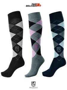 Knee-Socks Women's with Checked-Pattern Riding 3-Pairs Pramoda of Cotton