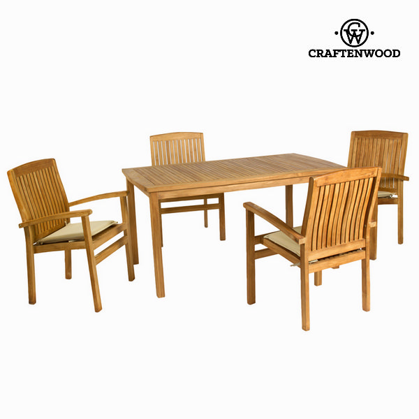 Table Set With 4 Chairs (150 X 90 X 75 Cm) Teak