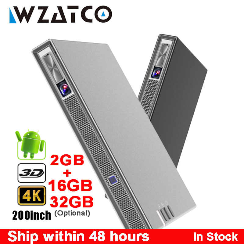 Wzatco T5 Portabel Mini DLP 3D Proyektor 4K 5G Wifi Smart Android untuk Home Theater Proyektor Full HD 1080P Video Laser Projector