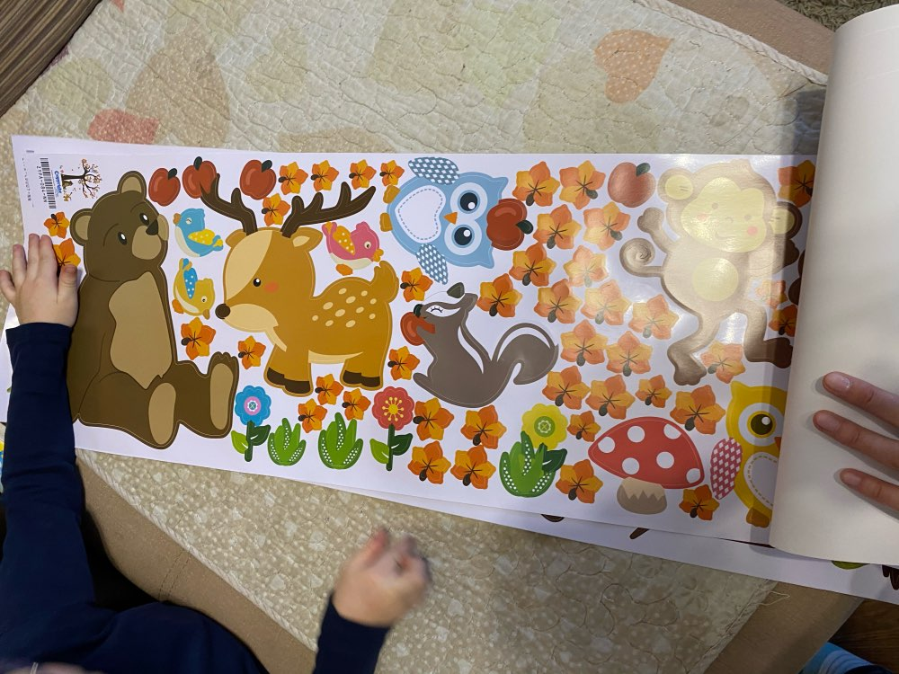 Cartoon Forest Tree Branch Animal Owl Monkey Bear Deer Wall Stickers For Kids Rooms Boys Girls Children Bedroom Home Decor