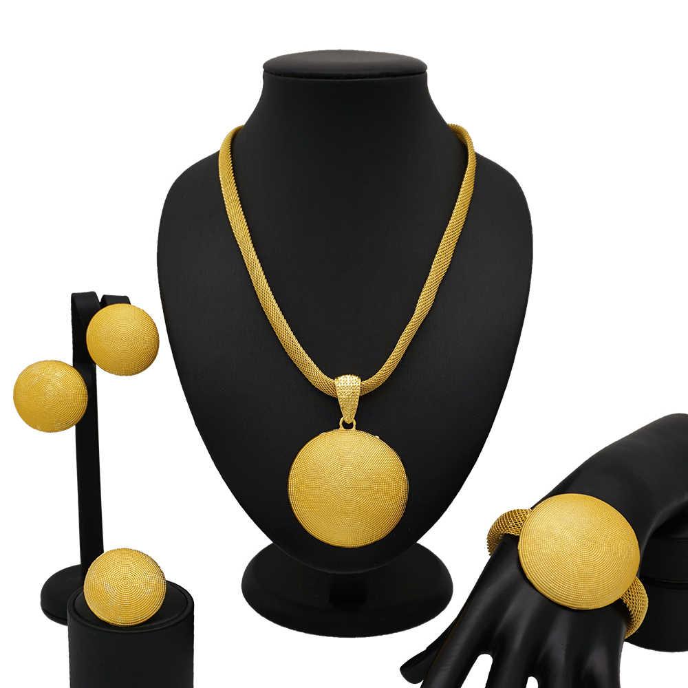 Ślub nigeryjski biżuteria do strojów afrykańskich zestaw dubai Neckace dla kobiet Party Jewelry sets