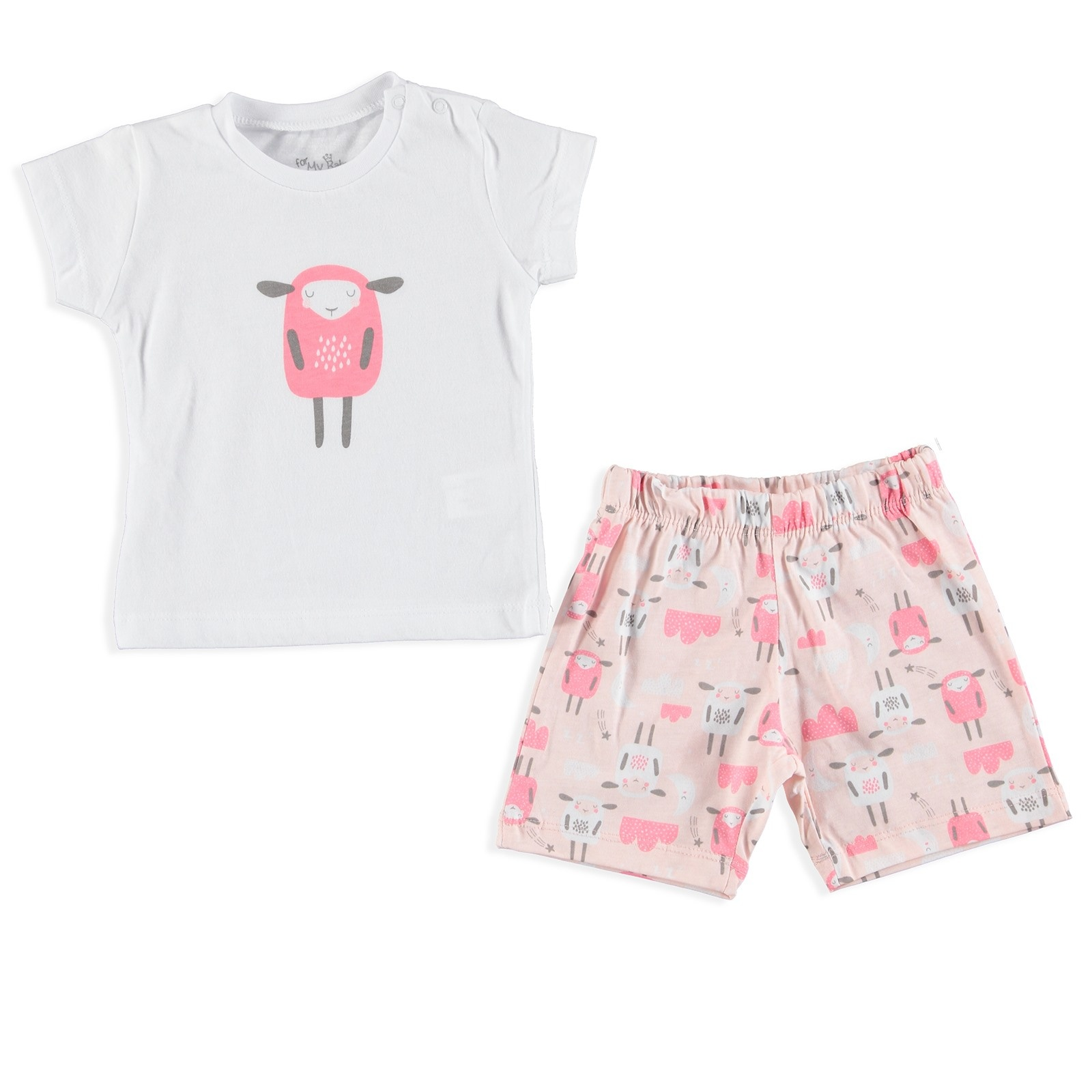 Ebebek For My Baby Summler Sheep Printed Short Sleeve Pyjamas