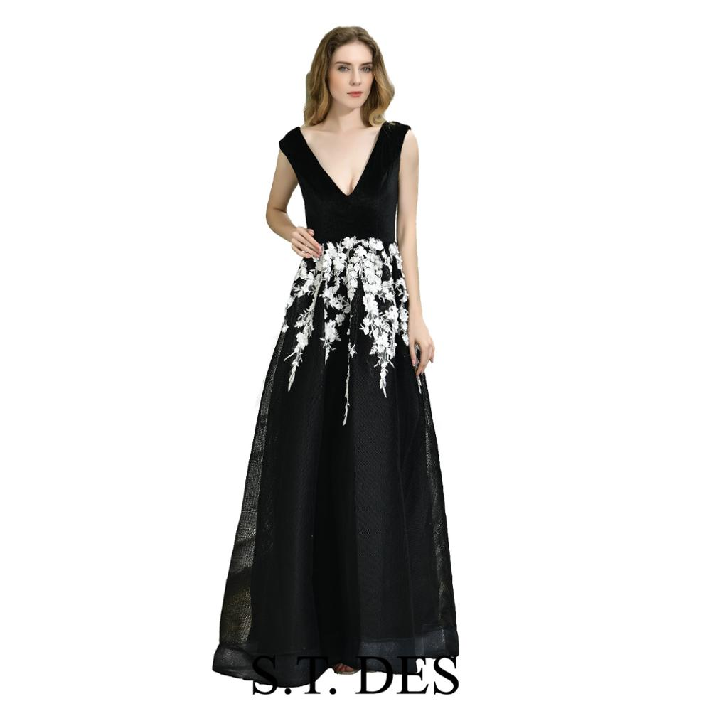 NEW 2020 St.Des A-line V-neck Russian Black Velvet Flowers Designer Brilliant Elegant  Floor Length Evening Dress Party Dress
