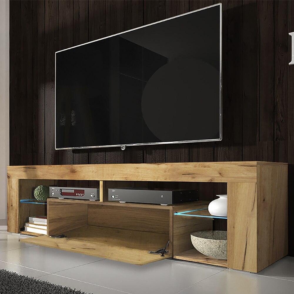 SELSEY BIANKO- Meuble TV  (140 cm, chêne lancaster - avec LED) 2