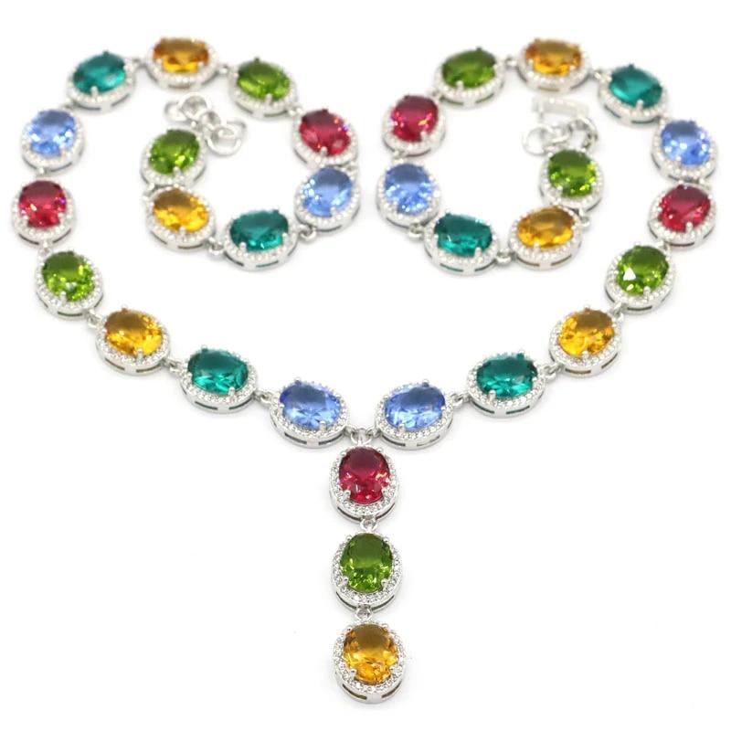 Handmade Brillant Rectangle Bi Color Tourmaline gemstone silver Collier Pendentifs