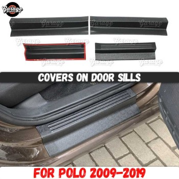 Guard covers on door sills for Volkswagen Polo Sedan 2009-2019 ABS plastic pads accessories protective plates scratches styling image