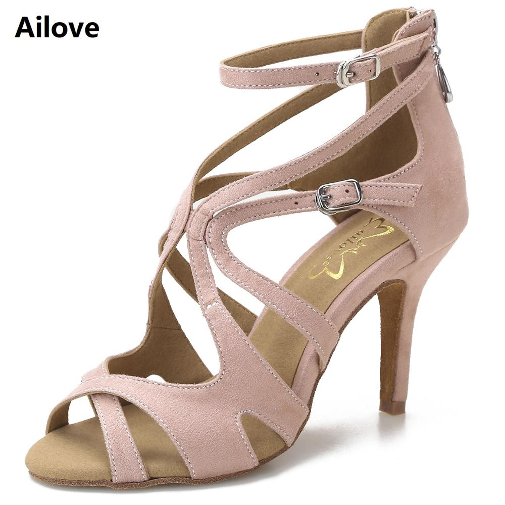 Ailove Ballroom Salsa Latin Swing Dance Shoes Women  Wedding Party Sandals Rubber Sole and Suede Sole Available Heels ALS005