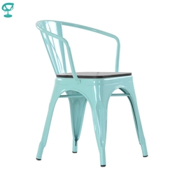 Barneo N-245 стул кухонный металлический стул сидение коричневый шпон стул для кафе стул для улицы дачный стул уличный стул для дачи стул для лет...