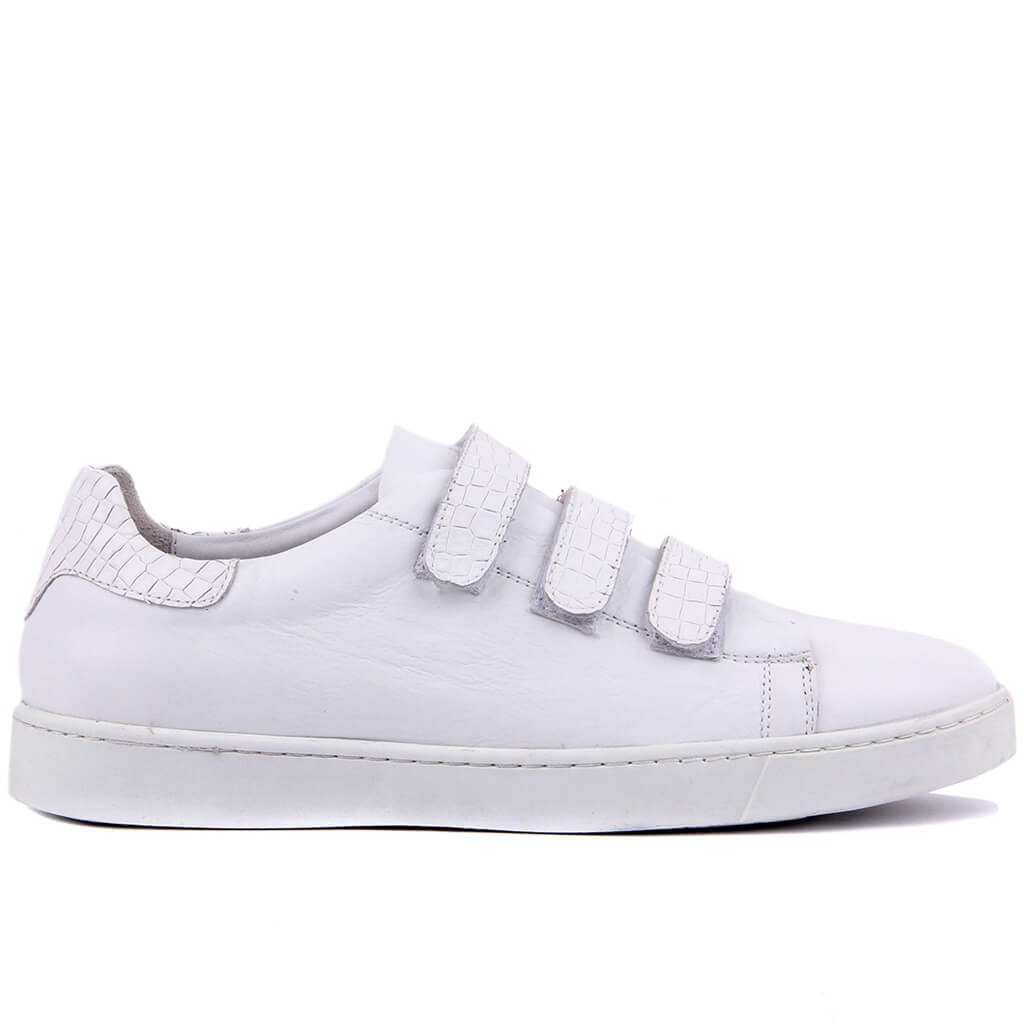 Sail-Lakers White Leather Velcro Men 'S Daily Casual Shoes