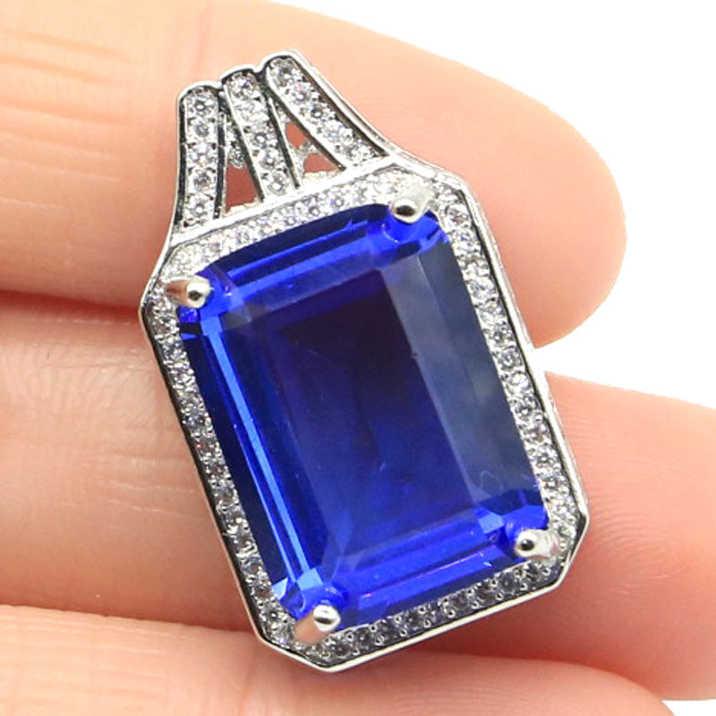 27x16mm Pretty Rectangle Shape Created Rich Blue Violet Tanzanite CZ Ladies Wedding Silver Pendant