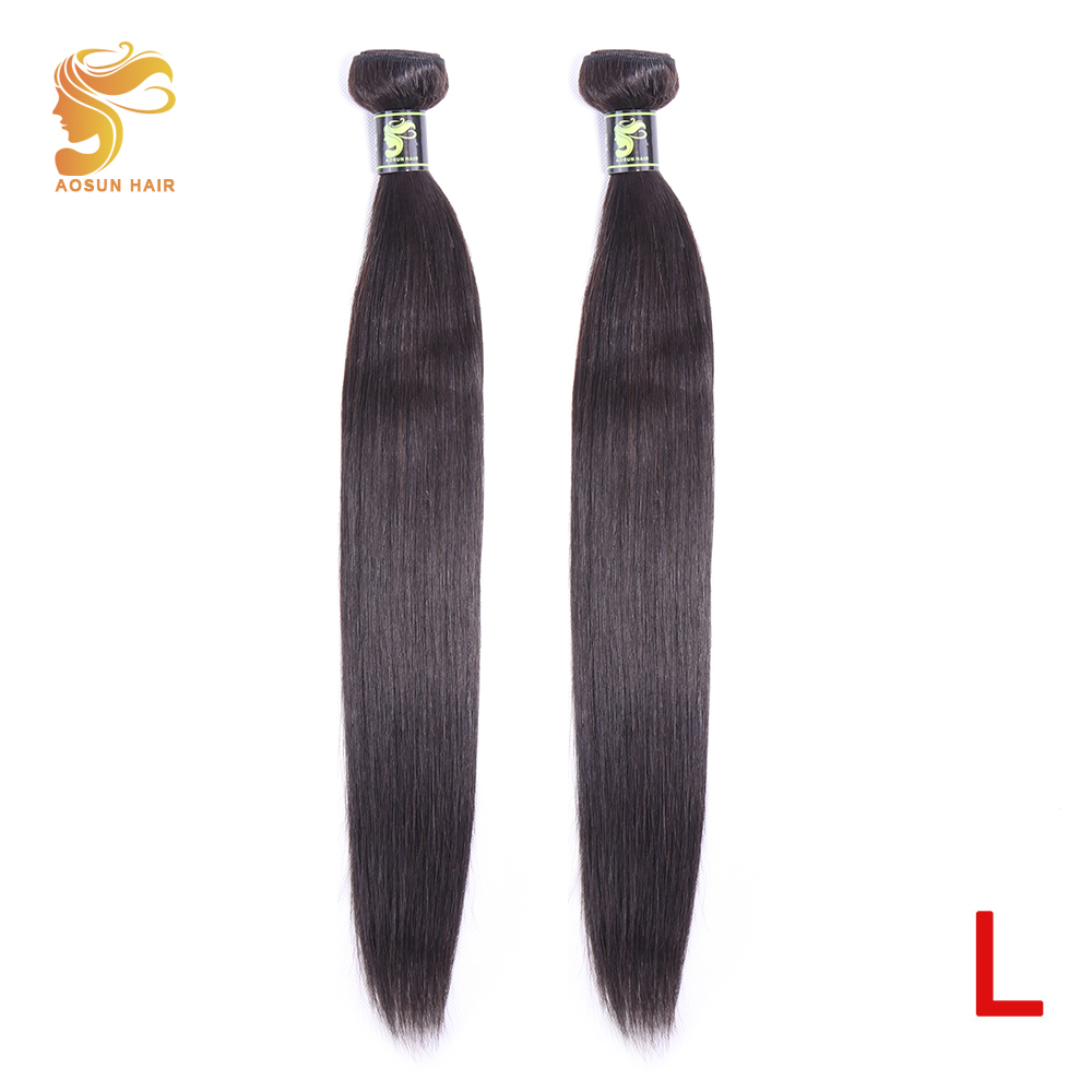 AOSUN HAIR Brazilian Straight Human Hair Extensions 8-26inch Natural Color 2 Piece Hair Weaving Bundles Remy Hair Free Shipping