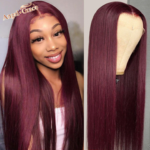 Wigs Human-Hair-Wigs T-Part Lace-Front Transparent 99J Burgundy Pre-Plucked Straight