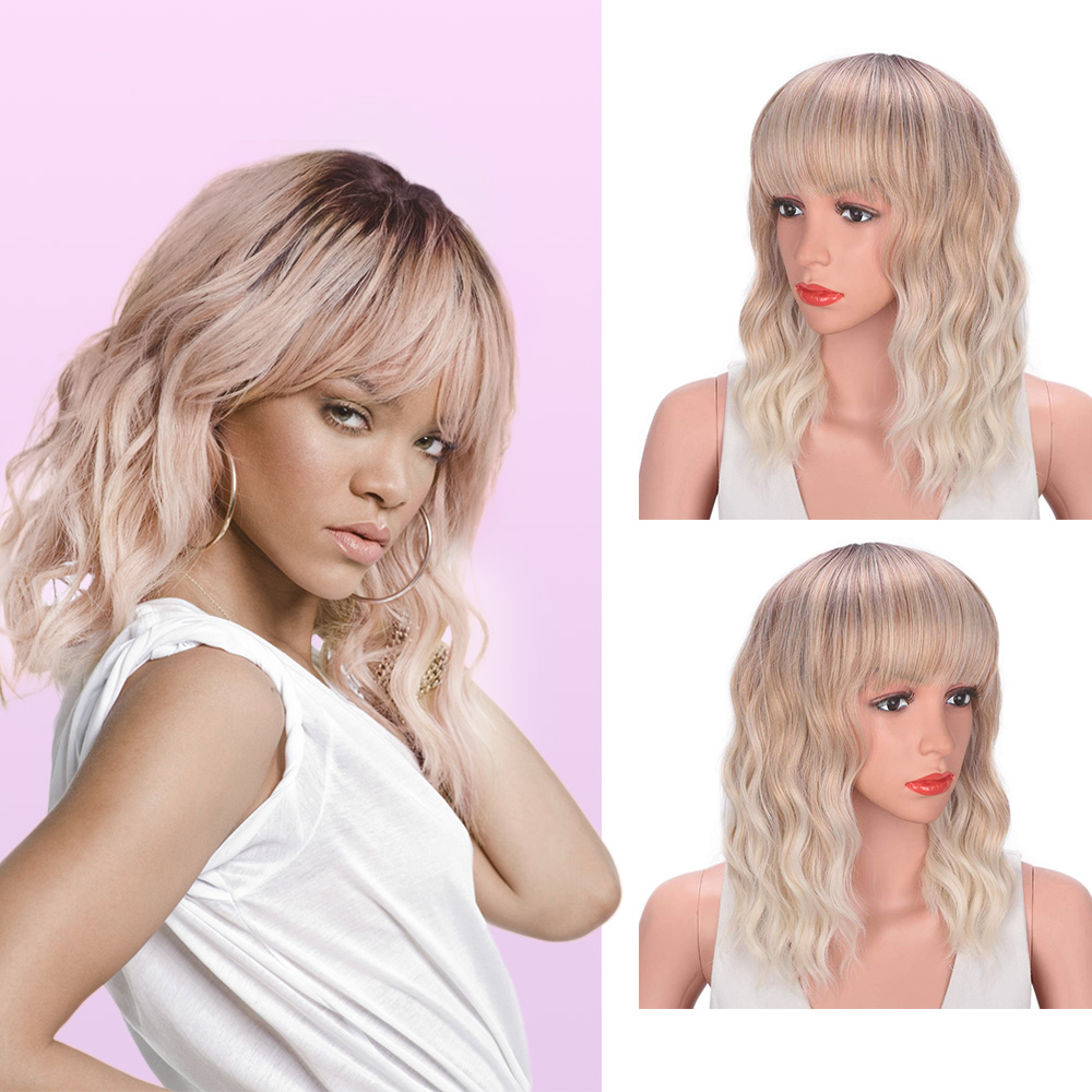 Stamped Glorious Wavy Curly Bob Wig With Bangs Brown To Blonde Short Wig 3 Tone Ombre Wig Natural Wavy Heat Resistant Synthetic