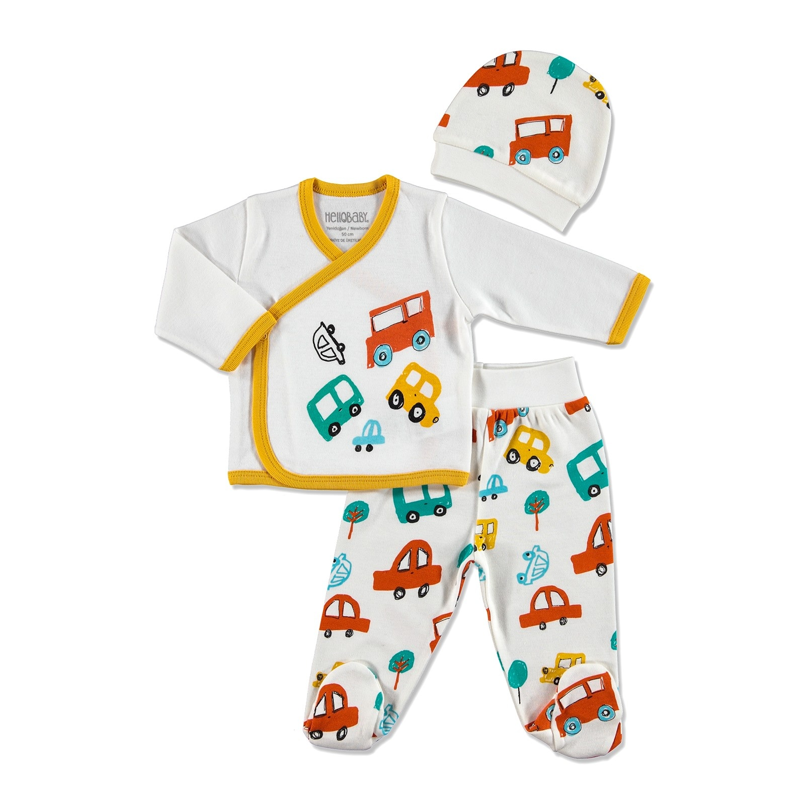 Ebebek HelloBaby Vehicles Baby Snapsuit Hat Footed Pant 3 Pcs Set