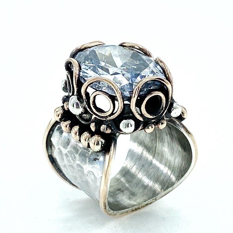 Hand Production Owl Custom Design Big Zircon Stone Silver Ring