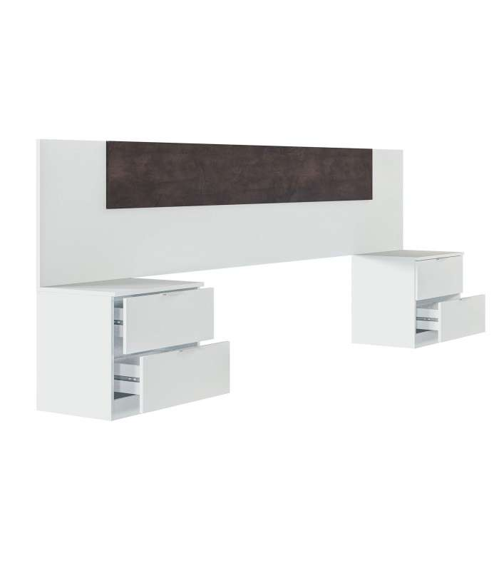 Headboard And 2 Bedside Tables White Color Artik And Oxide.