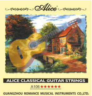 A106-h String Kit For Classical Guitar, Nylon, Silver Plated Copper [20] Alice