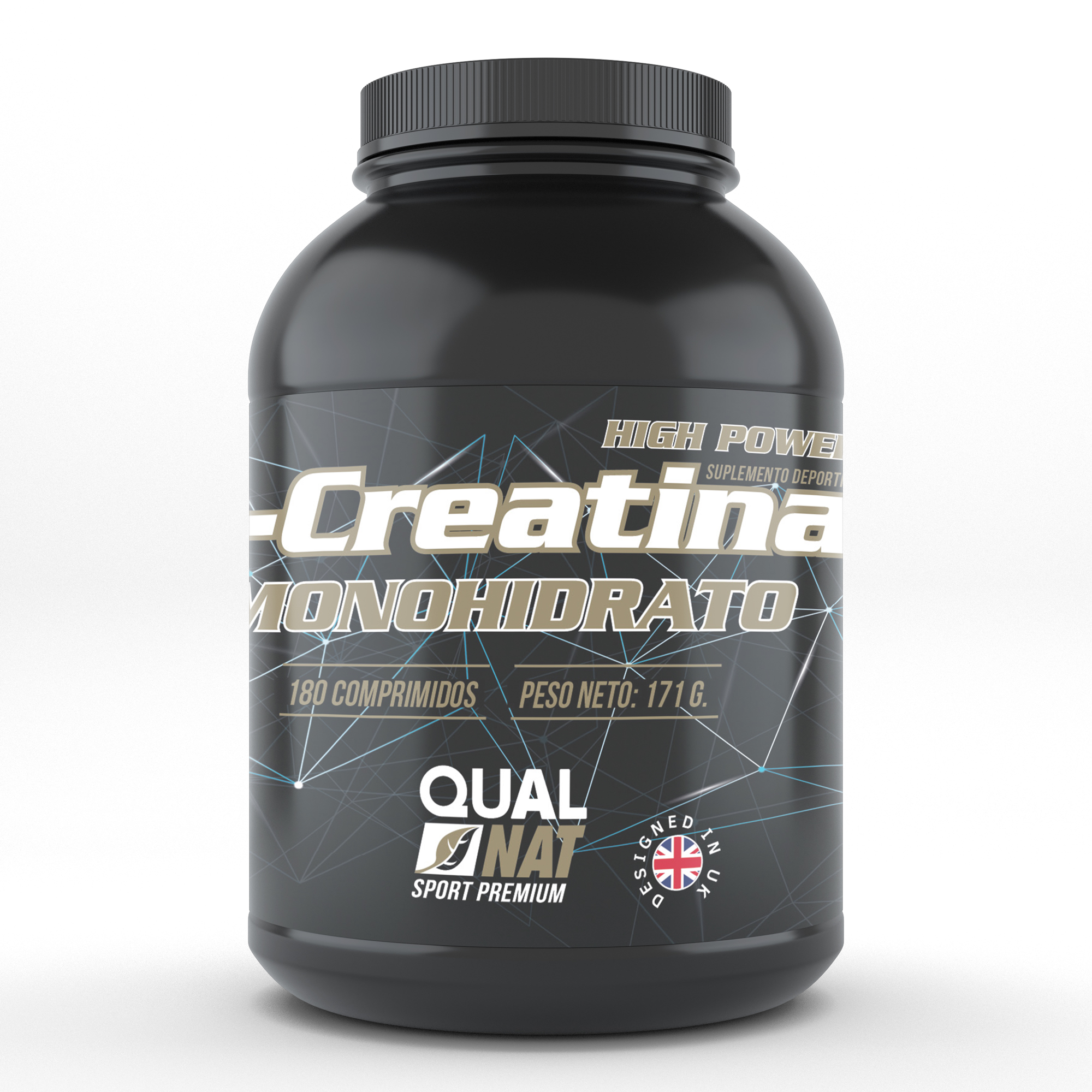 Creatine monohydrate | Sports supplement | Increases the sports performance and the mass | 180 tablets Qualnat
