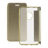 فوليو حقيبة هاتف محمول جالاكسي S9 معدن ذهبي على