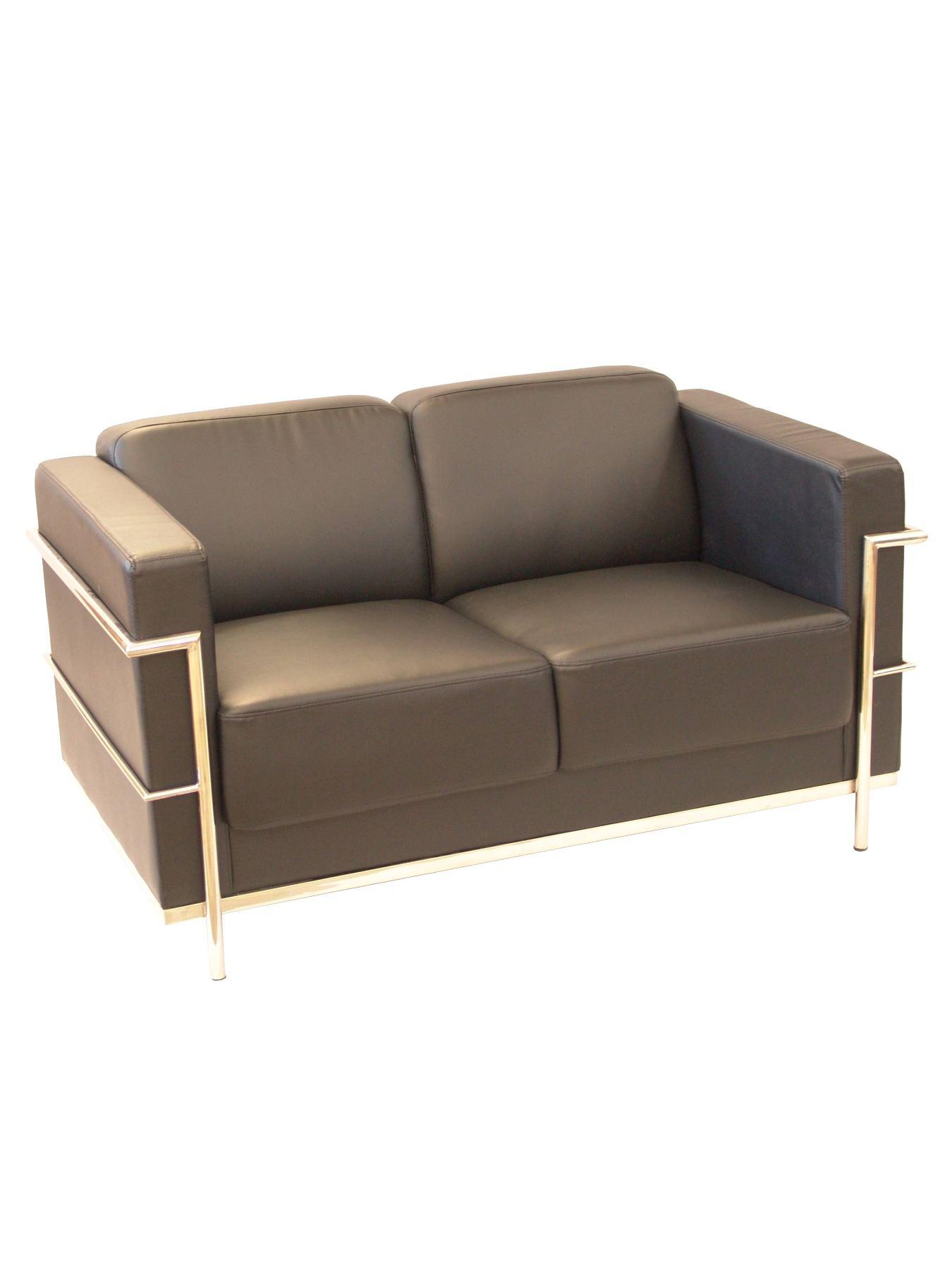 Sofa von Modulo/standby zwei-sitzer-Polster in similpiel farbe schwarz PIQUERAS und GEWELLT Modell Tarazona 2,0
