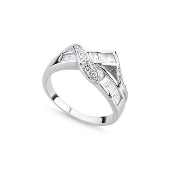 Silver 925 Sterling Zircon Baguette Cubic Zirconia Ring