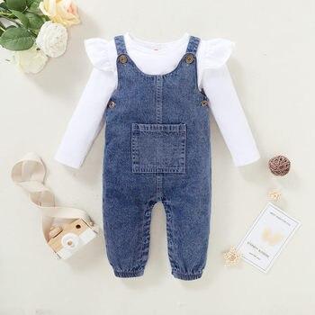 Одежда для маленьких девочек 3 6 месяцев, одежда для девочек, Топ с длинным рукавом и оборками на плечах в белую полоску, джинсовые брюки на подтяжках, одежда для девочек|Комплекты одежды|   | АлиЭкспресс