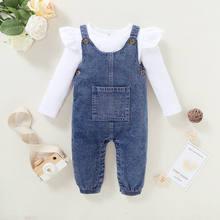 Bebê menina outfits 3-6 meses roupas da menina branco listrado manga longa babados ombro topo denim suspender calças meninas roupas