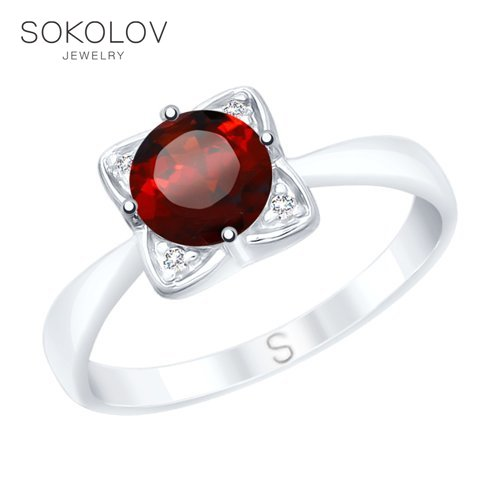Ring. Sterling Silver With Garnet And Cubic Zirkonia Fashion Jewelry 925 Women's Male
