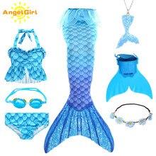 AngelGirl 2020 çocuklar denizkızı kuyrukları Bikini mayo çocuk mayo Monofin ile kızlar için prenses kostüm yüzücü takım elbise