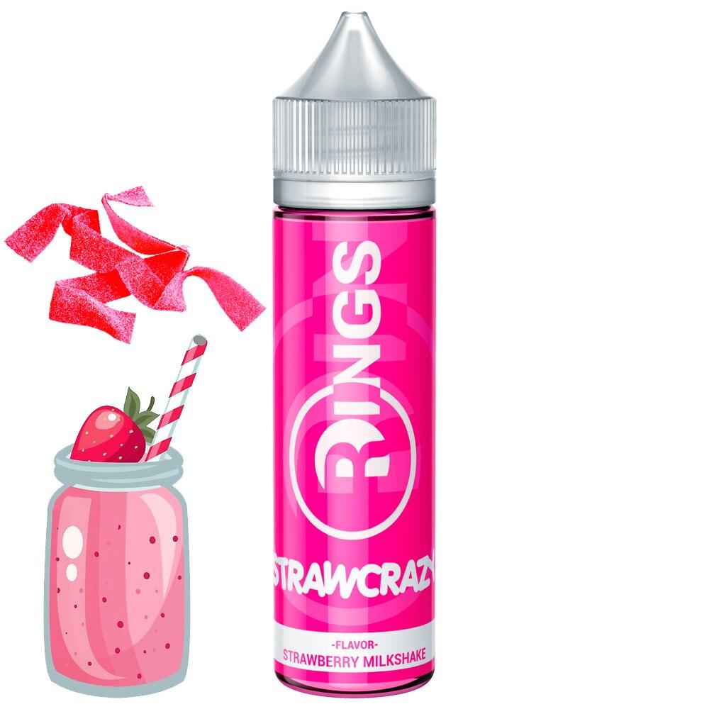 Rings E-Liquid Strawcrazy 50ml 70VG/30PG Liquido Vaper Sin Nicotina Sabor A Batido De Fresa Con Golosina De Fresa