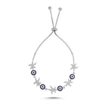 Silver 925 Sterling Zircon Stone Sea Star Elevator Bracelet